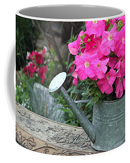 Pink Petunias In Watering Can  Coffee Mug