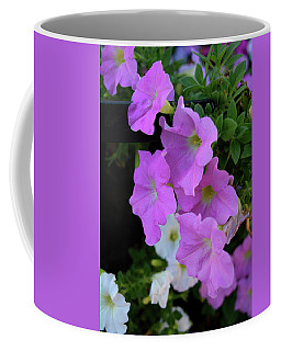 Coffee Mug featuring the photograph Pink Petunias by Karen Harrison