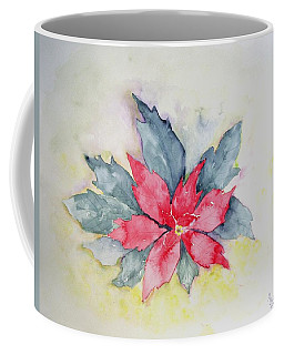Pink Poinsetta On Blue Foliage Coffee Mug