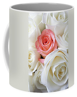 Pink Rose Among White Roses Coffee Mug
