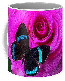 Pink Rose And Black Blue Butterfly Coffee Mug