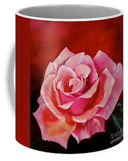 Coffee Mug featuring the painting Pink Rose With Dew Drops by Jenny Lee