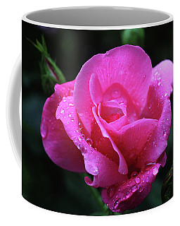 Coffee Mug featuring the photograph Pink Rose With Raindrops by Trina Ansel