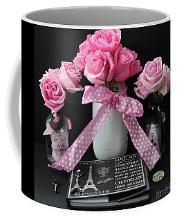 Coffee Mug featuring the photograph Pink Roses French Decor - Pink And Black Parisian Wall Art - Pink Roses French Home Decor by Kathy Fornal