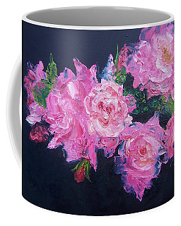 Pink Roses Oil Painting Coffee Mug by Jan Matson