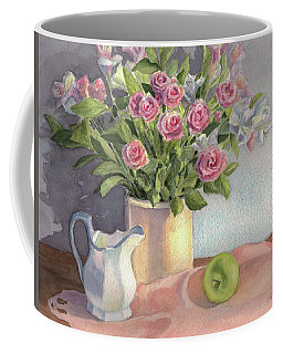 Coffee Mug featuring the painting Pink Roses by Vikki Bouffard
