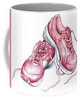 Coffee Mug featuring the painting Pink Running Shoes by Heidi Kriel