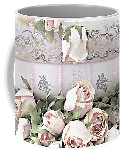 Coffee Mug featuring the photograph Pink Shabby Chic Roses On Pink Cottage Books - Shabby Cottage Pink Roses Home Decor by Kathy Fornal