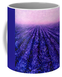Abstract Lavender Field Landscape - Contemporary Landscape Painting - Amethyst Purple Color Block Coffee Mug