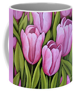 Coffee Mug featuring the painting Pink Spring Tulips by Inese Poga