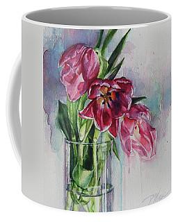 Pink Tulips Coffee Mug by Tracy Male