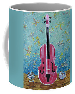 Pink Violin With Fireflies And Shells Still Life Coffee Mug by John Keaton