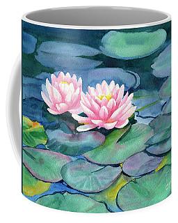 Pink Water Lilies With Colorful Pads Coffee Mug