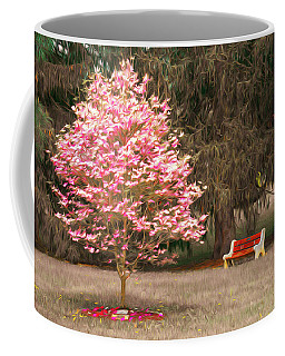 Pinky And The Bench - Impressionism Coffee Mug