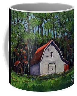 Coffee Mug featuring the painting Pinson Barn At Harrison Park by Jan Dappen