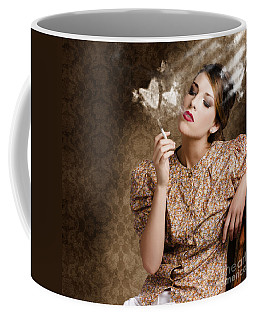 Pinup Portrait Of A Smoking Woman Blowing Hearts Coffee Mug