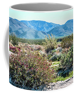 Coffee Mug featuring the pyrography  Pinyon Mtns Desert View by Daniel Hebard