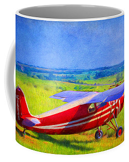 Piper Cub Airplane In Kansas Prairie Coffee Mug