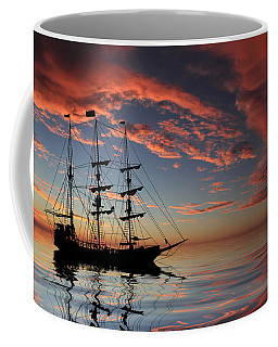 Pirate Ship At Sunset Coffee Mug by Shane Bechler