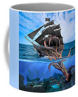 Pirate Ship Vs The Giant Squid Coffee Mug
