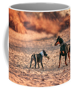 Coffee Mug featuring the photograph Pitbull And Doberman by Peter Lakomy