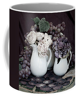 Coffee Mug featuring the photograph Pitchers And Tapestry by Sherry Hallemeier