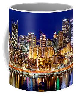 Pittsburgh Pennsylvania Skyline At Night Panorama Coffee Mug