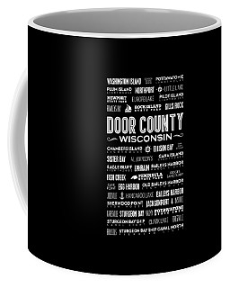 Places Of Door County On Black Coffee Mug