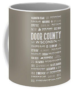 Coffee Mug featuring the digital art Places Of Door County On Brown by Christopher Arndt
