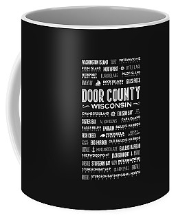 Places Of Door County On Gray Coffee Mug