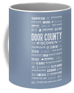 Coffee Mug featuring the digital art Places Of Door County On Light Blue by Christopher Arndt
