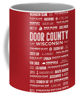 Places Of Door County On Red Coffee Mug