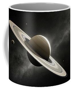 Planet Saturn With Major Moons Coffee Mug