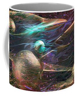 Coffee Mug featuring the digital art Planetary Chaos by Linda Sannuti
