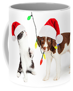Playful Christmas Kitten And Puppy Coffee Mug