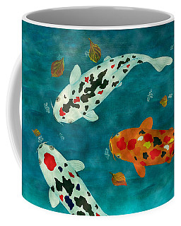 Coffee Mug featuring the painting Playful Koi Fishes Original Acrylic Painting by Georgeta Blanaru