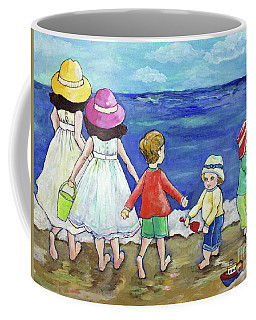 Coffee Mug featuring the painting Playing At The Seashore by Rosemary Aubut