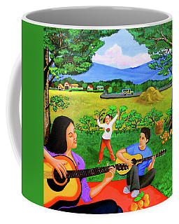 Playing Melodies Under The Shade Of Trees Coffee Mug by Lorna Maza