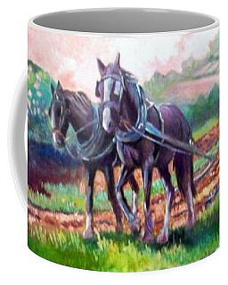 Coffee Mug featuring the painting Ploughing by Paul Weerasekera