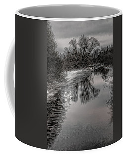 Plover River Black And White Winter Reflections Coffee Mug
