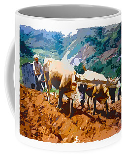 Plowing With Oxen Coffee Mug