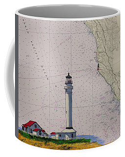 Point Arena Lighthouse On A Noaa Nautical Chart Coffee Mug by Mike Robles