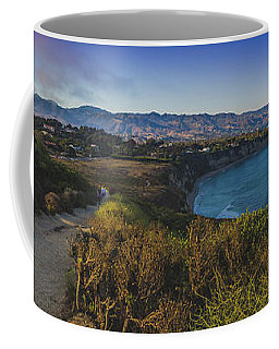 Coffee Mug featuring the photograph Point Dume Sunset Panorama by Andy Konieczny