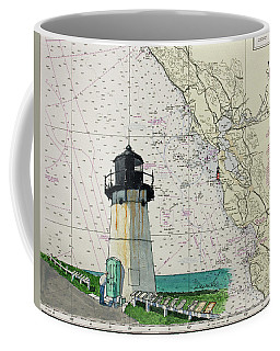Point Montara Lighthouse On A Noaa Nautical Chart Coffee Mug by Mike Robles