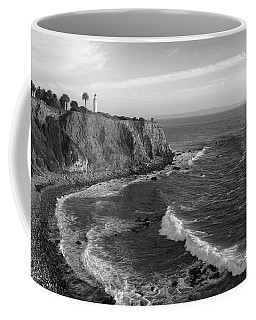 Point Vicente Lighthouse Palos Verdes California - Black And White Coffee Mug