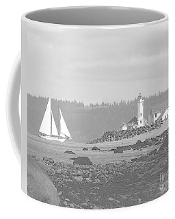 Point Wilson Lighthouse And Sailboat Coffee Mug