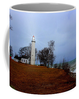 Coffee Mug featuring the photograph Pointe Aux Barques Lighthouse by Michael Rucker