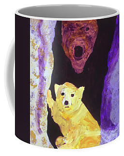 Coffee Mug featuring the painting Cave Bear With Cub by Donald J Ryker III