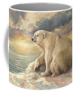 Coffee Mug featuring the painting Polar Bear Rests On The Ice - Arctic Alaska by Svitozar Nenyuk