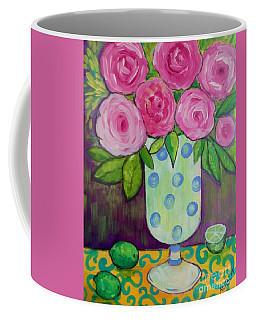 Coffee Mug featuring the painting Polka-dot Vase by Rosemary Aubut